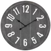 Gray & White Round Wood Wall Clock