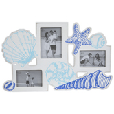 White & Blue Seashell Wood Collage Frame