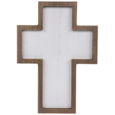 White & Brown Blank Wood Wall Cross