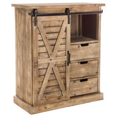 Natural Farmhouse Cabinet With Sliding Door