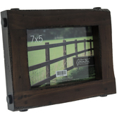 """Brown Bolted Distressed Wood Frame - 7"""" x 5"""""""