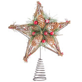 Pinecone & Twig Star With Berries Tree Topper