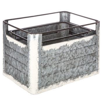 Distressed White Galvanized Metal Box Set