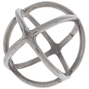 Silver Rings Metal Decorative Sphere