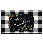Merry Christmas Buffalo Check Doormat