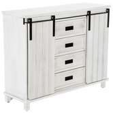 Whitewash Sliding Barn Door Wood Cabinet