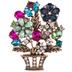 Flower Basket Rhinestone Brooch