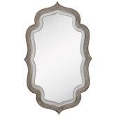 Whitewash Quatrefoil Wood Wall Mirror