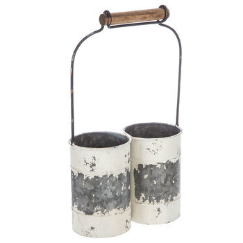 White Rustic Metal Can Caddy