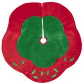 Red & Green Velvet Holly Tree Skirt