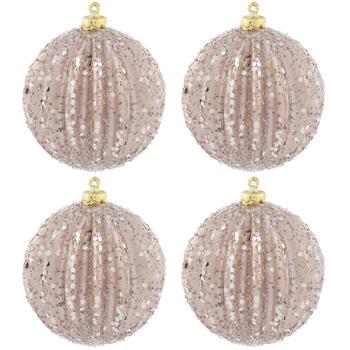 Rose Ridged Glitter Ball Ornaments
