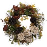 Rose, Hydrangea & Lotus Pod Wreath