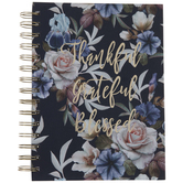 Navy Floral Thankful Grateful Blessed Spiral Notebook