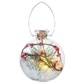 Pine & Berry Filled Ball Ornament