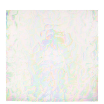 """Iridescent Clear Feather Stained Glass Sheet - 12"""" x 12"""""""