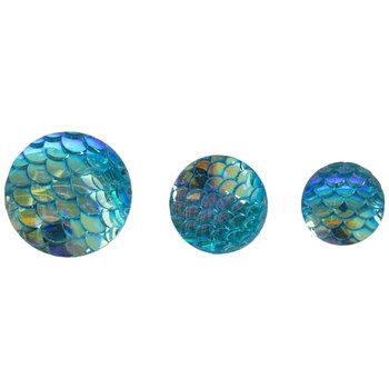 Blue Round Fish Scale Embellishments