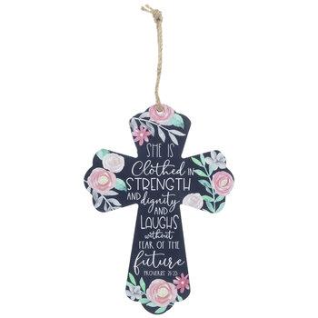 Proverbs 31:25 Wood Wall Cross
