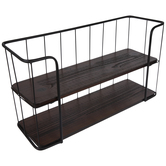 Brown Two-Tiered Metal Wall Shelf