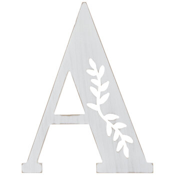 White Vine Letter Wood Wall Decor - A