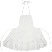 White Adult Apron with Ruffle Trim