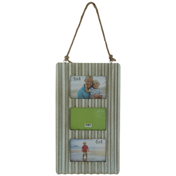 Silver Corrugated Metal Collage Wall Frame