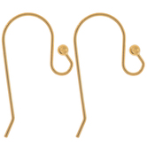 18K Gold Plated Ball Ear Wires - 14mm x 27mm