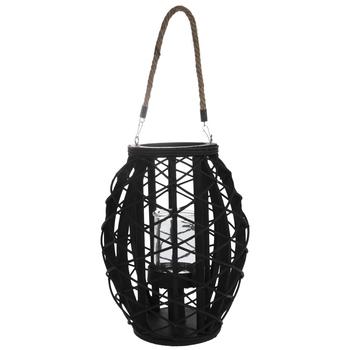 Black Basket With Jar Candle Holder