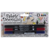 Blue, Red & Black Double Ended Fabric Markers - 3 Piece Set