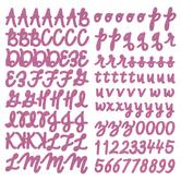 Pink Glitter Script Alphabet Stickers
