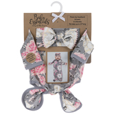 Gray & Pink Floral Headband & Gown - 0 - 3 Months