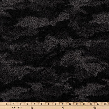 Black & Gray Camo Teddy Sherpa Fleece Fabric
