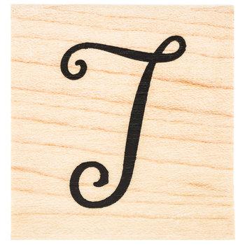 Script Letter Rubber Stamp - T