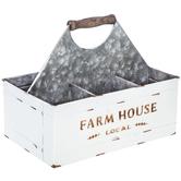 Cream Farmhouse Metal Divided Planter