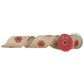"""Red Glitter Snowflakes Wired Edge Burlap Ribbon - 4"""""""
