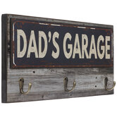 Dad's Garage Wood Wall Decor With Hooks