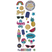 Birthday Party Metallic Glitter Puffy Stickers