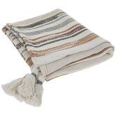 Muted Striped Tassel Throw Blanket