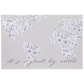 Floral World Map Canvas Wall Decor