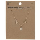 Three Focal Rhinestones Necklace