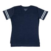 Heather Blue & White Baseball V-Neck Adult T-Shirt - Extra Small