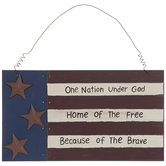 One Nation American Flag Wood Wall Decor