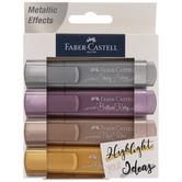 Metallic Faber-Castell Textliner Highlighters - 4 Piece Set
