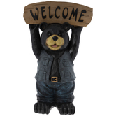 Black Bear With Welcome Sign