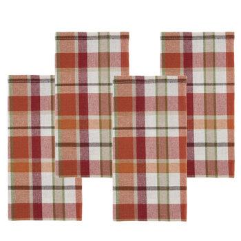 Orange Plaid Cloth Napkins