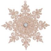 Pink Glitter Fleur De Lis Snowflake Ornament