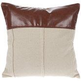 Faux Leather & Canvas Pillow