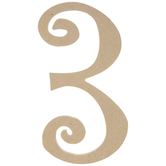"""Curly-Q Wood Number 3 - 8"""""""