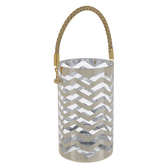 Metallic Gold Chevron Glass Candle Holder