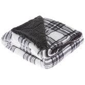Gray & White Plaid Throw Blanket