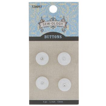 White Round Flower Shank Buttons - 13mm